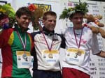 Simonas Krepsta, me and Fabian Hertner with medals from the sprint
