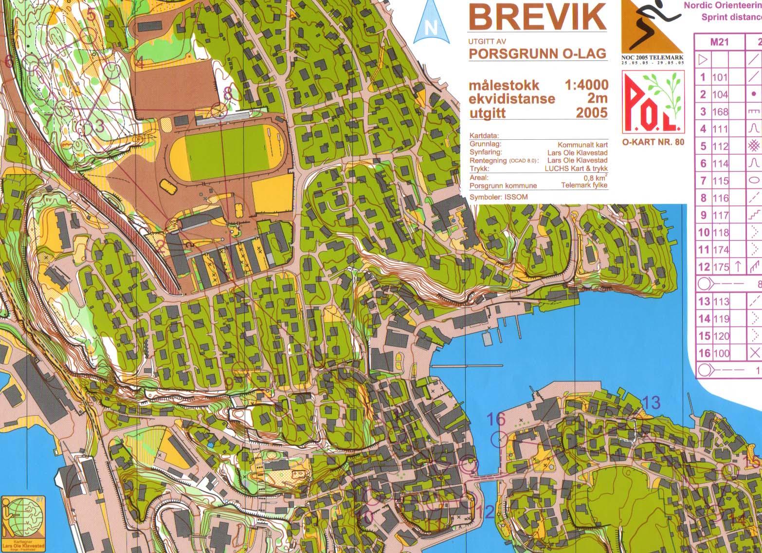 kart over brevik 2005.05.27 NOM Sprint Brevik kart over brevik