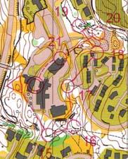 Kart med veivalg fra siste del av sprinten