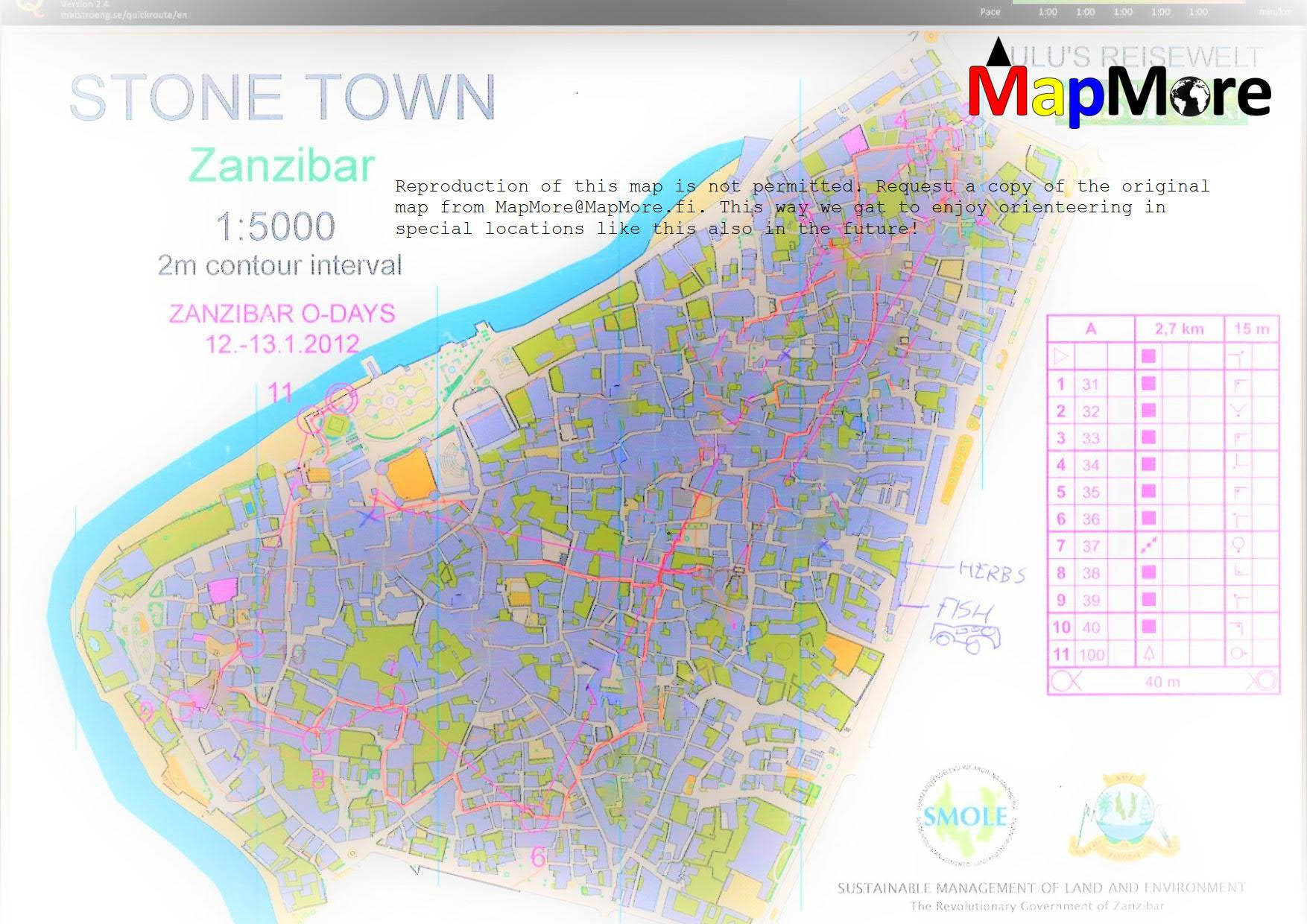 Zanzibar orienteering map